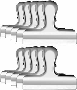 IPOW 10 Pack 3 Inch Wide Stainless Steel Chip Clips Heavy Du