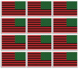12 PACK 3x5 Inch AFRO AFRICAN AMERICAN  Flag Sticker Decal