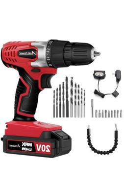 Avid Power 20V MAX Lithium Ion Cordless Power Drill Set with