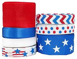 "Red White Blue Ribbon for Crafts - Hipgirl 35 Yards 3/8"" - 7"
