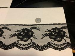 3 & 3/4 inch wide delicate black lace with rose motif