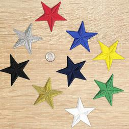 3 inch Embroidered Iron on Star Patches-Sold Separately-Mult