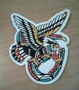 3 inch iron on patch eagle with snake