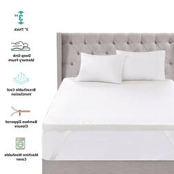 """3"""" Inch Memory Foam Mattress Topper With Removable Bamboo Co"""