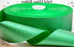 """3"""" Inch Solid Green Glitter Printed on Grosgrain Cheer Bow R"""