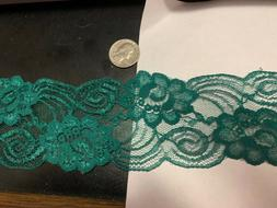 3 inch wide deep green lace