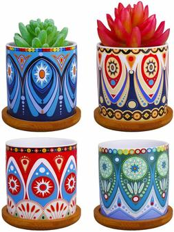4pcs 3 Inch Cylinder Ceramic Planters + Bamboo Trays