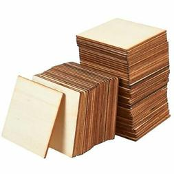 60-Pack Unfinished Wood Pieces, Wooden Squares Cutout Tiles