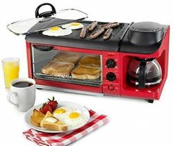 Nostalgia BSET300RETRORED Retro 3-in-1 Family Size Breakfast