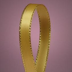"""Antique Gold Satin Ribbon with Gold Edges, 3/8"""" X 50Yd"""
