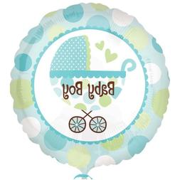 """Baby Boy Buggy Stroller Shower Welcome Party 18"""" Balloon"""