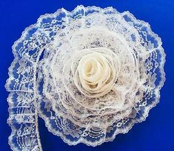 IVORY~3 Inch Wide Ruffled Floral Lace Trim~By 5 Yards