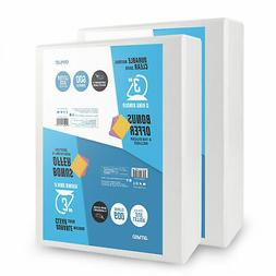 OS Plus 3 Inch, Durable D-Ring View Binder, White, 2 Pack, B