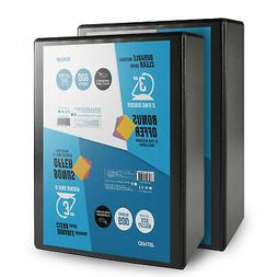 OS Plus Durable D-Ring Binder, 3 Inch Black 2 Pack. Bonus 1
