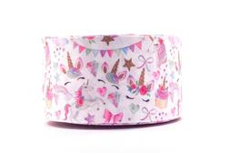 "GROSGRAIN PARTY UNICORNS 3"" INCH PRINTED GROSGRAIN RIBBON 1,"