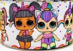 "GROSGRAIN UNICORN LOL DOLLS  3"" INCH PRINTED GROSGRAIN RIBBO"
