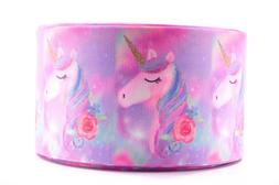 "GROSGRAIN WATERCOLOR UNICORN ROSE  3"" INCH PRINTED GROSGRAIN"