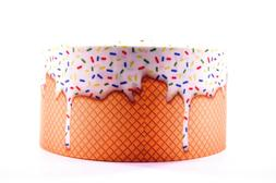 "GROSGRAIN WHITE ICE CREAM CONE 3"" INCH PRINTED GROSGRAIN RIB"