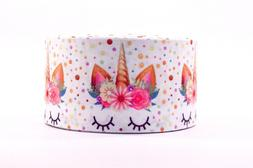 "GROSGRAIN WHITE UNICORNS DOTS 3"" INCH PRINTED GROSGRAIN RIBB"