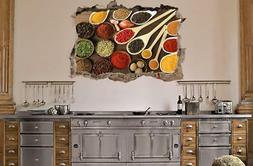 Herbs And Spices Kitchen Food 3D Smashed Wall Sticker Decal