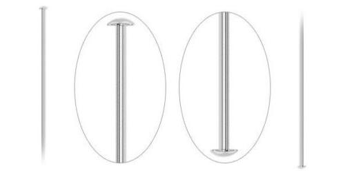 3 inch 21 ga HEADPINS Silver Plated Brass 100 count Head Pin