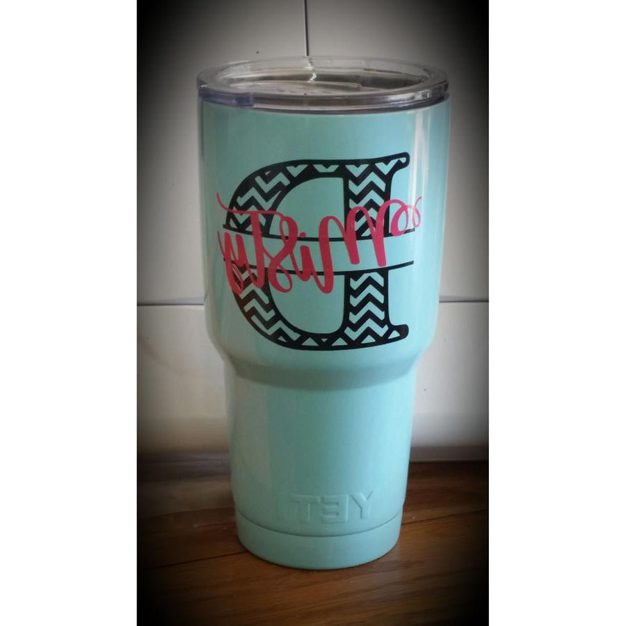 3 Two Chevron Initial Decal for Tumbler