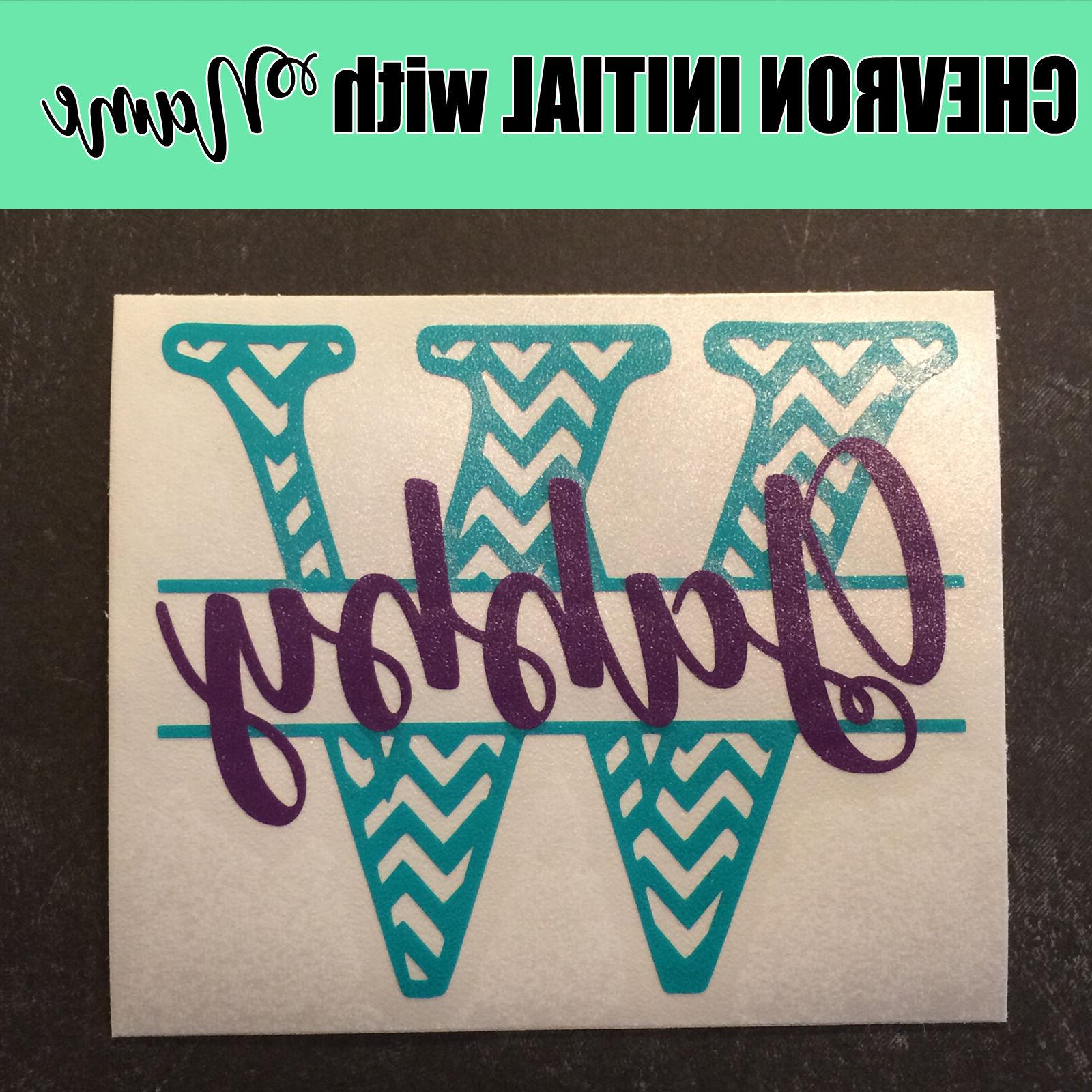 3 inch Chevron Initial Script Decal Sticker for Tumbler
