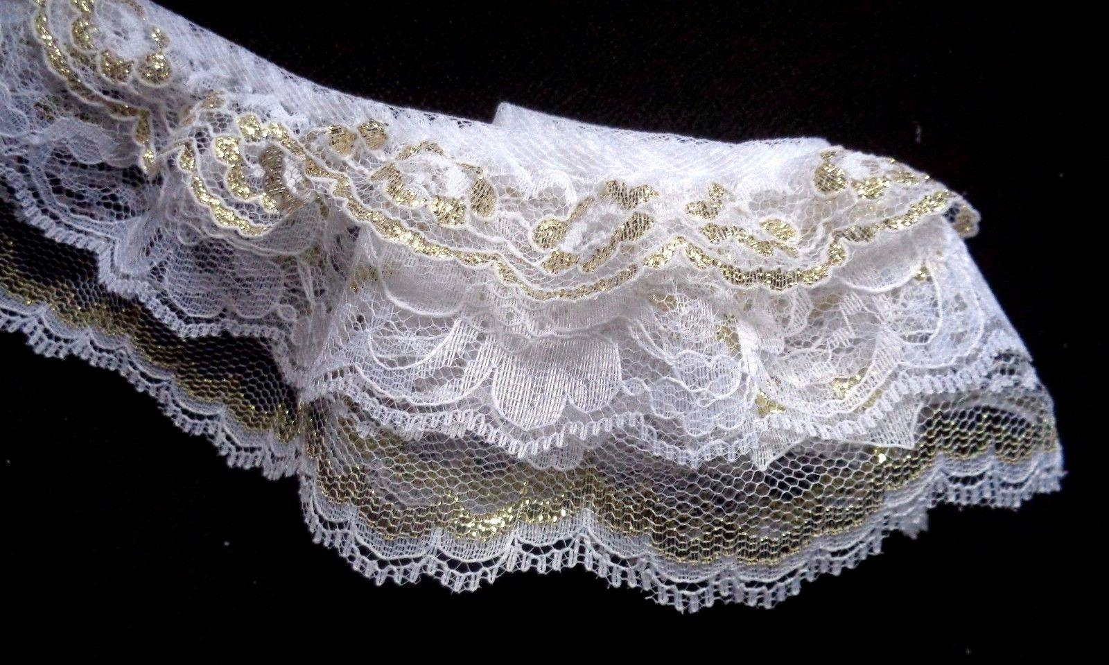 3 inch wide Gathered Lace Combo  White/Gold Triple Ruffle.pr
