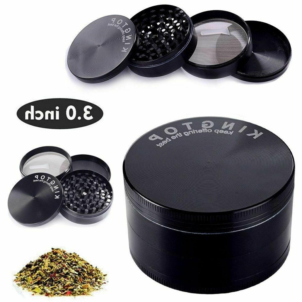 4 Piece 3 Inch Black Tobacco Herb Grinder Spice Herbal Zinc