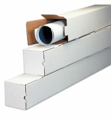 50 - 3 x 3 x 25 White Corrugated Square Mailing Tube Shippin