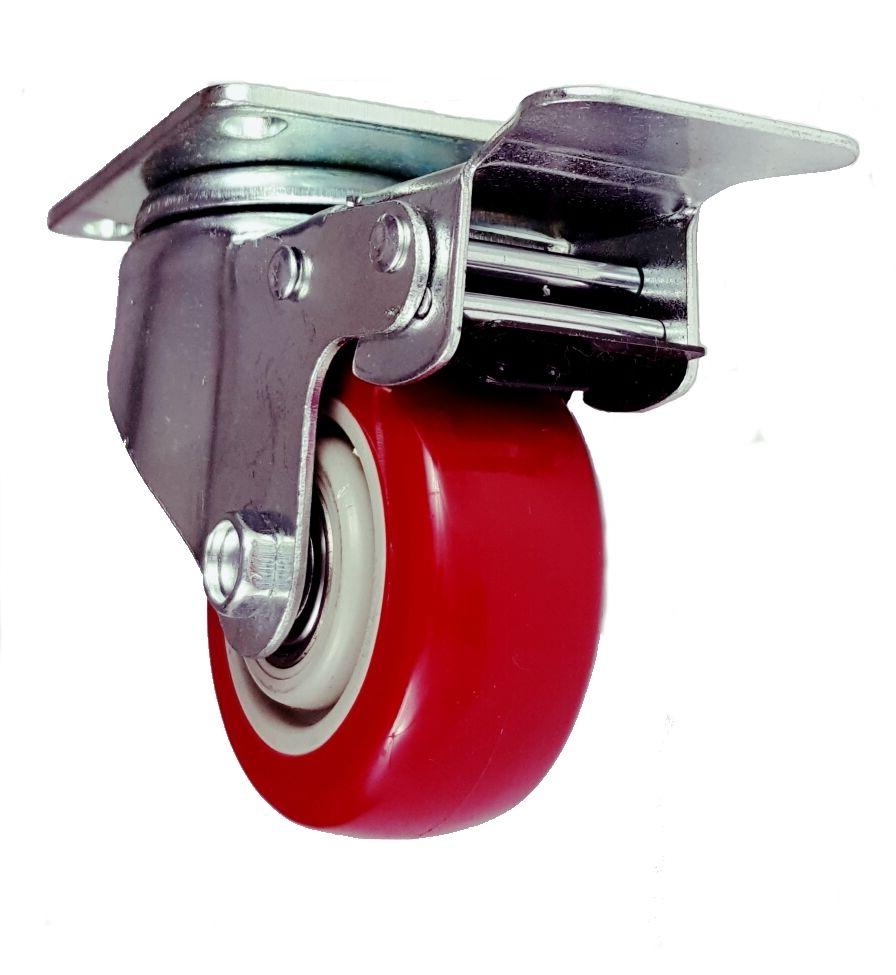 8 Pack 3 Caster Swivel with Red PU