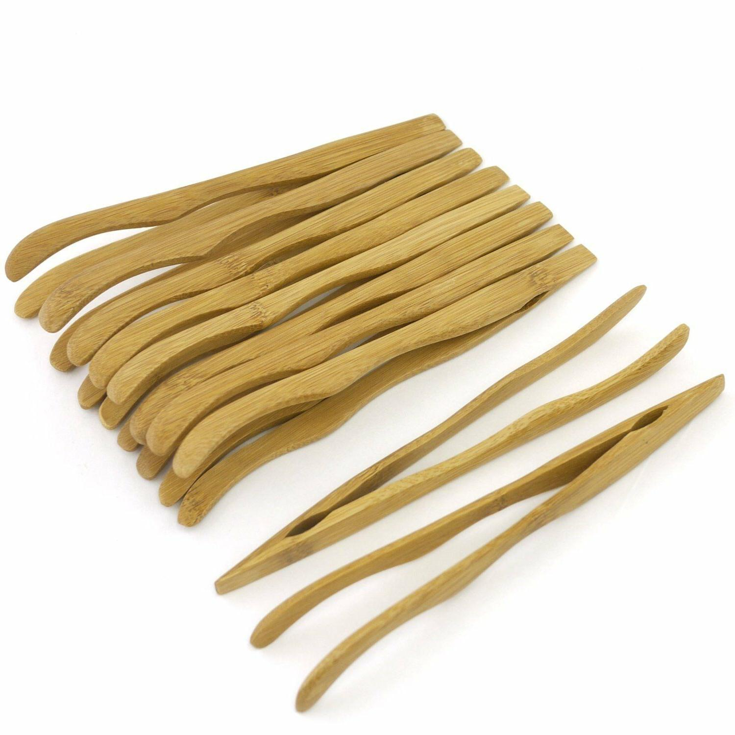 bamboo wooden reusable serving toast tongs curved