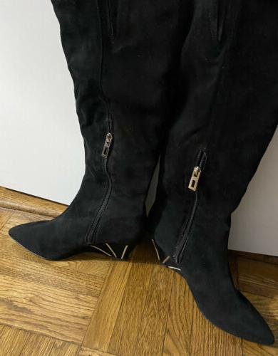 black suede 3 inch wedge heeled boots