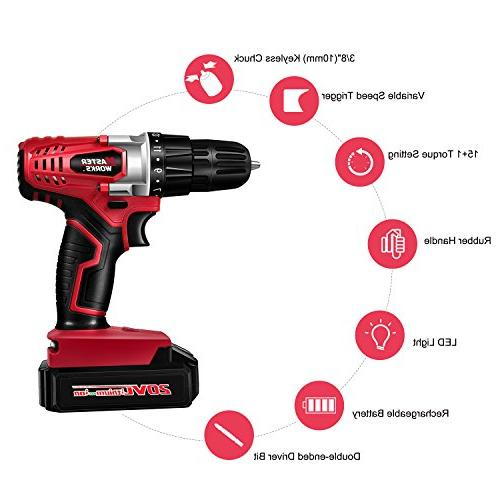 "20V MAX Ion Cordless Set with 3/8"" Chuck, Speed, 16 Position, Light 22pcs MW316"