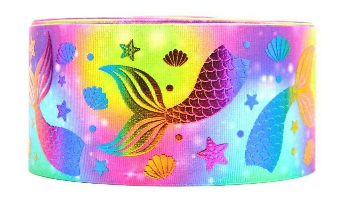 grosgrain bright foil mermaid tails 3 inch