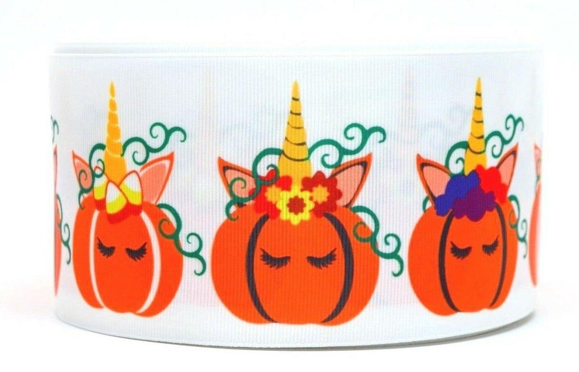 "GROSGRAIN HALLOWEEN UNICORN PUMPKINS 3"" INCH PRINTED GROSGRA"