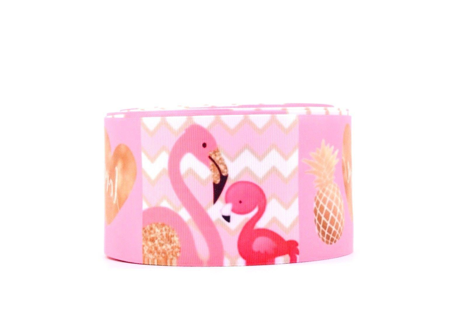 "GROSGRAIN PINK FLAMINGOS 3"" INCH PRINTED GROSGRAIN RIBBON 1,"