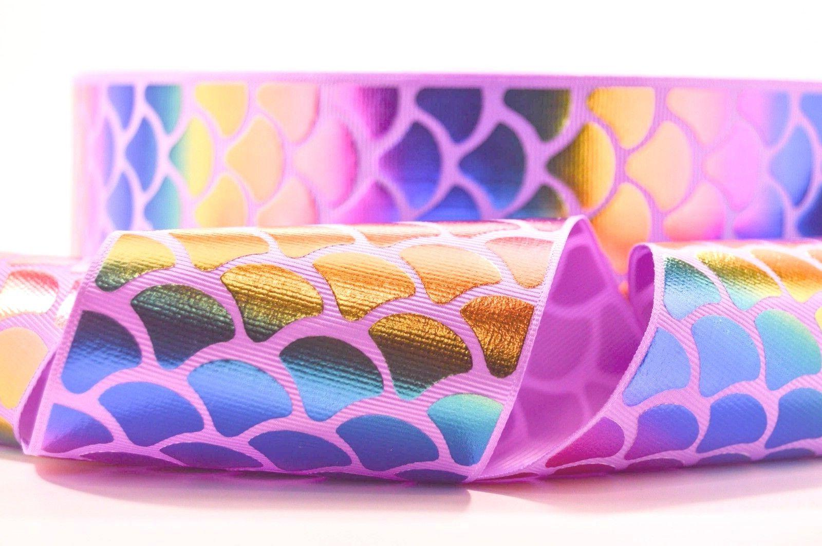 "GROSGRAIN PURPLE RAINBOW MERMAID 3"" INCH PRINTED GROSGRAIN R"