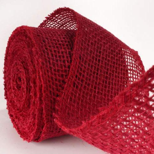 "BambooMN 3"" wide Color Burlap Ribbon Roll Yards Hemp Cranberry Roll"