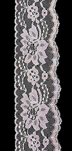 "Ribbon Bazaar Lace 443 Flat 3"" White By the Yard 100% Polyes"