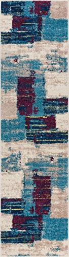 Rumsey Boxes Blue Modern Geometric Squares 2x7  Area Rug