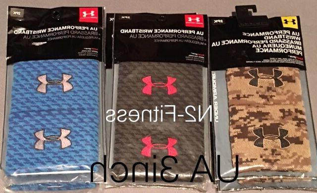 Unisex Under Armour Performance Wristband 3inch Black Blue C
