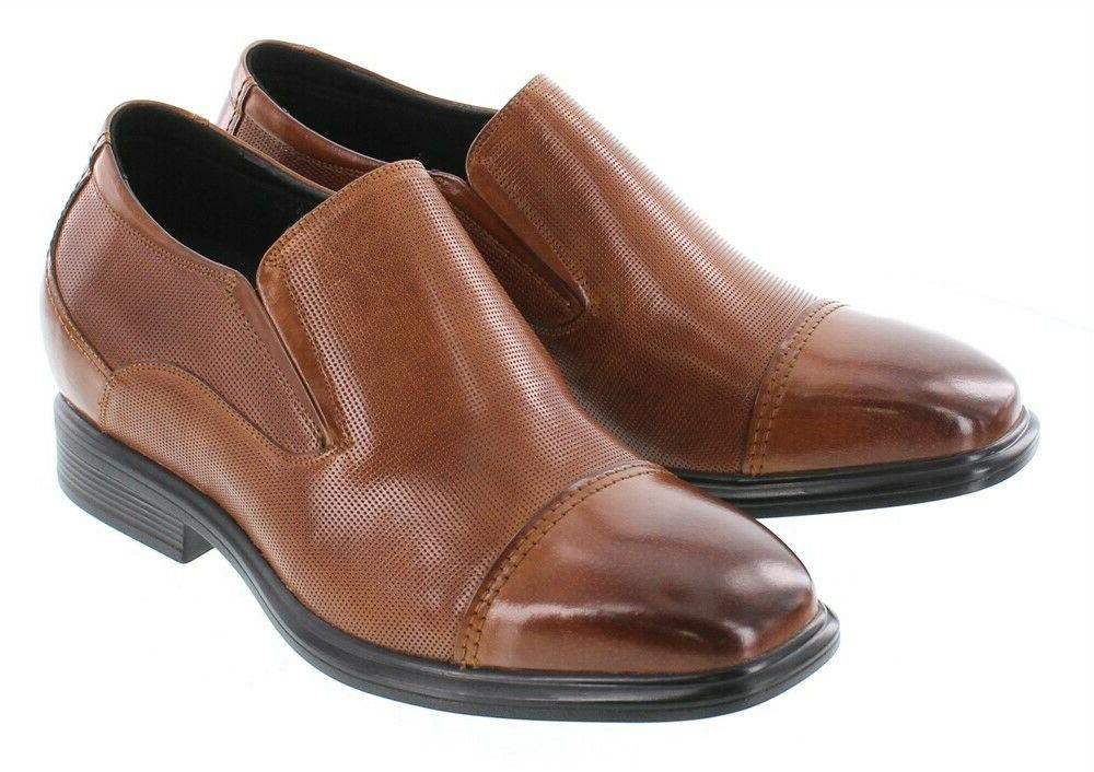 CALTO Y3106 - 3 Inches Elevator Brown Loafer Slip Dress
