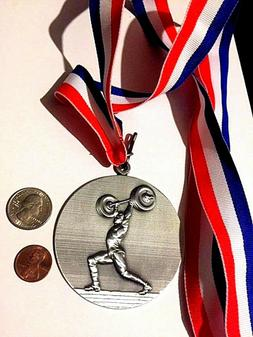Large 3 inch 3D Weightlifting / Crossfit Medal / Award + rib