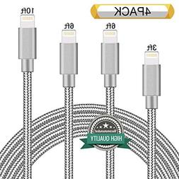 Youer Lightning Cable 4Pack 3FT 6FT 6FT 10FT Nylon Braided C