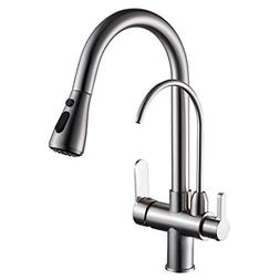 WANFAN Modern Pull Down Kitchen Sink Faucet 3 in 1 Water Fil