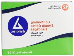 Dynarex Non Sterile Stretch Gauze Bandage Roll, 12 Count