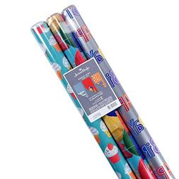 Hallmark Reversible Birthday Wrapping Paper, Celebrate