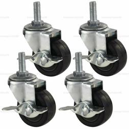 4x 3 Inch Rubber Casters Heavy Duty Safety Brake Wheels For