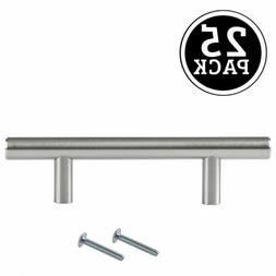 Satin Nickel Kitchen Cabinet Pulls - 3 Inch Bar - 25 Pack of